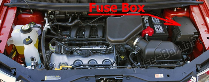 The location of the fuses in the engine compartment: Ford Edge (2007-2010)