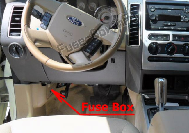 The location of the fuses in the passenger compartment: Ford Edge (2007-2010)