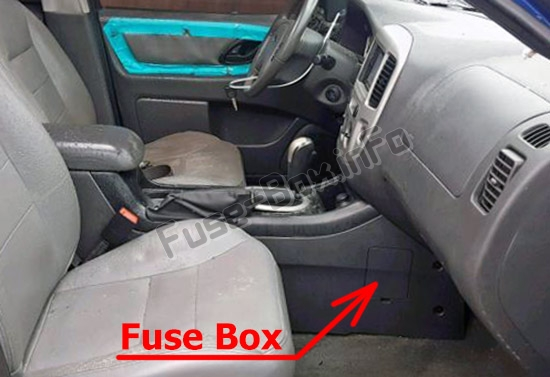 panel behind the cover the location of the fuses in the passenger  compartment: ford escape (2005-2007