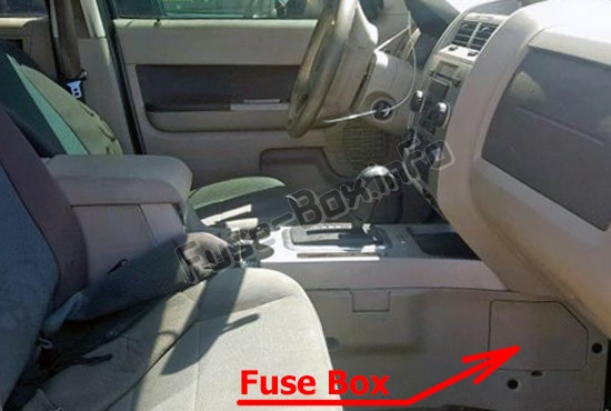 The location of the fuses in the passenger compartment: Ford Escape Hybrid (2011-2012)
