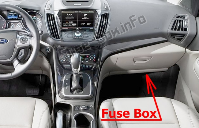 The location of the fuses in the passenger compartment: Ford Escape (2013-2019)