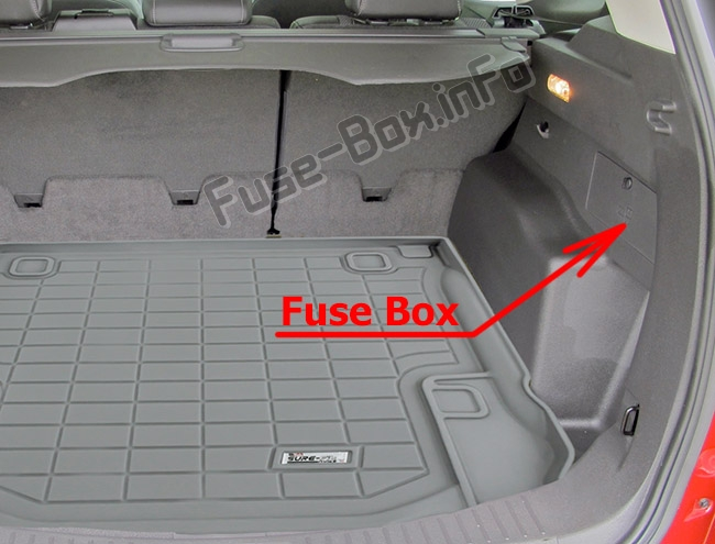 The location of the fuses in the trunk: Ford Escape (2013-2019)