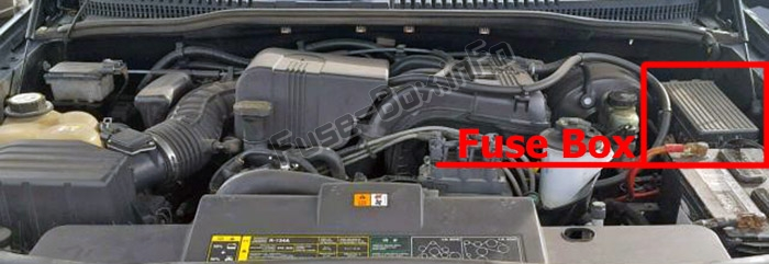 The location of the fuses in the engine compartment: Ford Explorer (2002-2005)