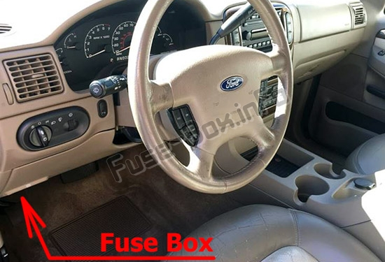 The location of the fuses in the passenger compartment: Ford Explorer (2002-2005)