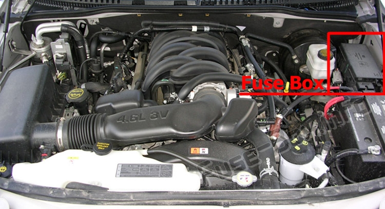 The location of the fuses in the engine compartment: Ford Explorer (2006-2010)