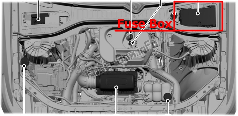The location of the fuses in the engine compartment: Ford Explorer (2020-...)