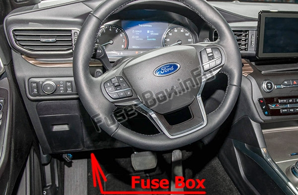 The location of the fuses in the passenger compartment: Ford Explorer (2020-...)