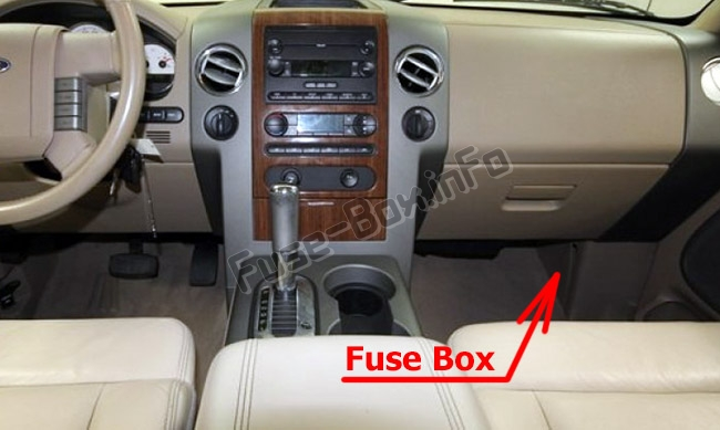 the location of the fuses in the passenger compartment: ford f-150 (2004