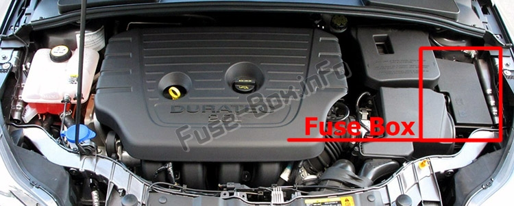 The location of the fuses in the engine compartment: Ford Focus (2015-2018)