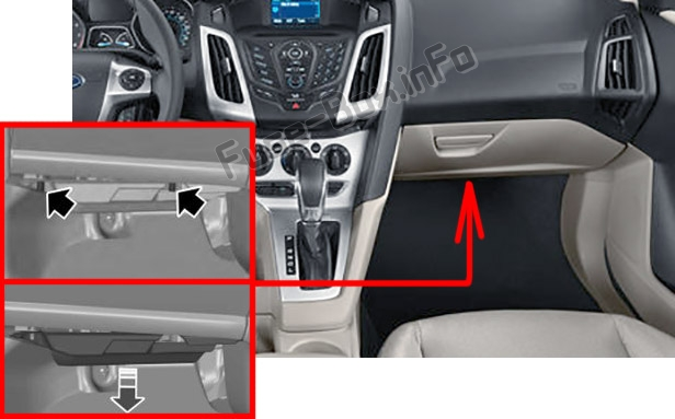 The location of the fuses in the passenger compartment: Ford Focus (2012-2014)