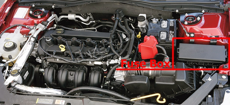 The location of the fuses in the engine compartment: Ford Fusion (2006-2009)