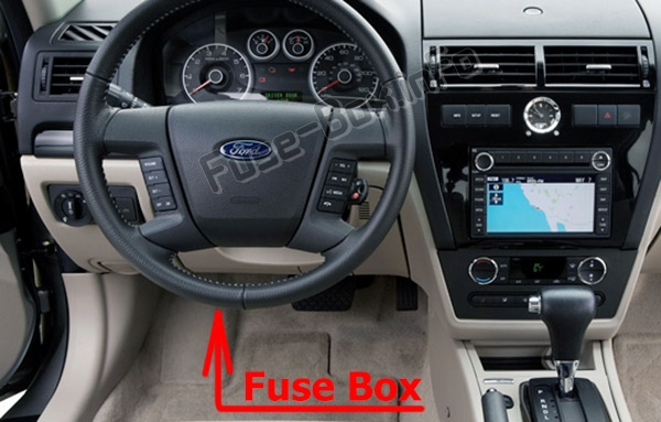 The location of the fuses in the passenger compartment: Ford Fusion (2006-2009)
