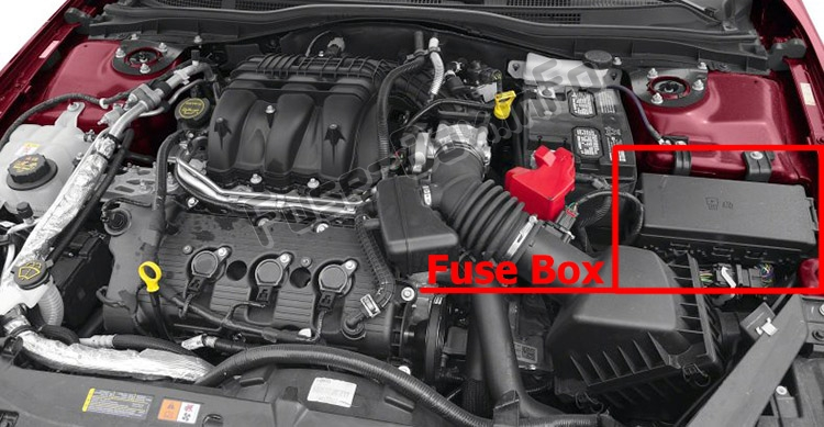 The location of the fuses in the engine compartment: Ford Fusion (2010-2012)