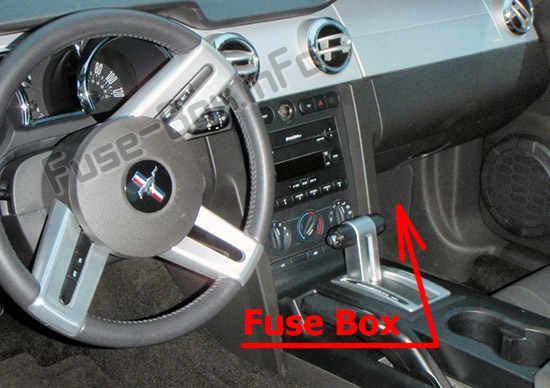 The location of the fuses in the passenger compartment: Ford Mustang (2005-2009)
