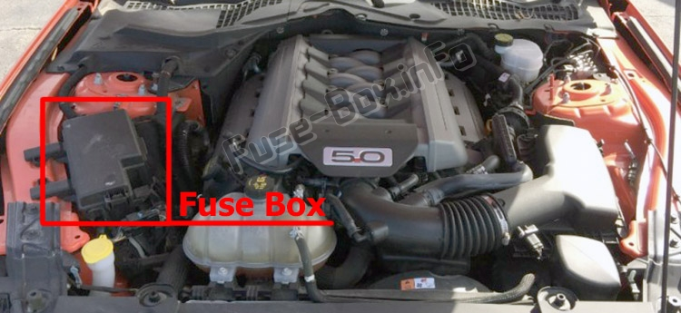 The location of the fuses in the engine compartment: Ford Mustang (2015-2019-..)