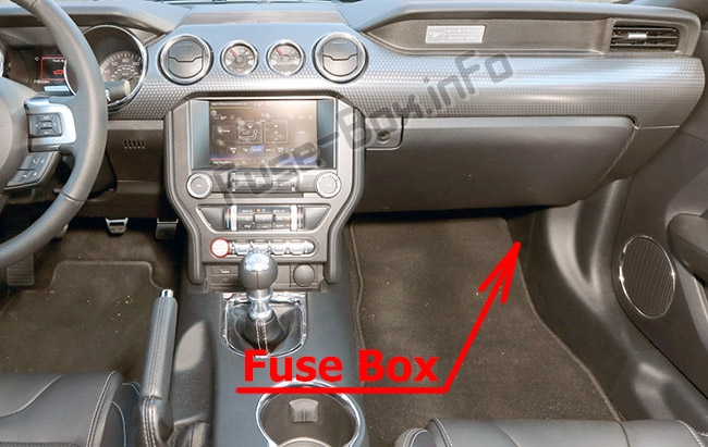 The location of the fuses in the passenger compartment: Ford Mustang (2015-2019-..)