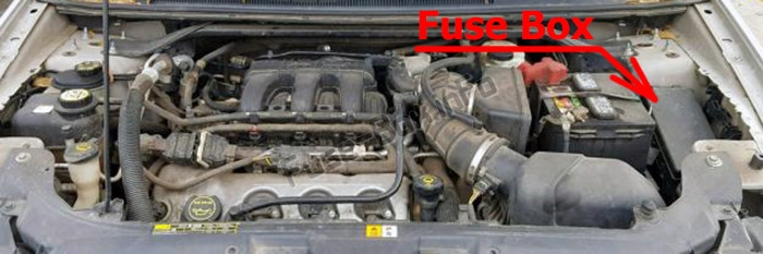 The location of the fuses in the engine compartment: Ford Taurus (2008-2009)