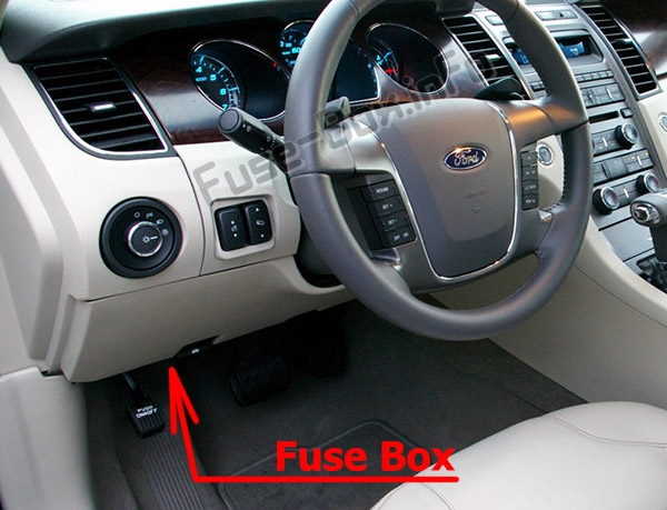 The location of the fuses in the passenger compartment: Ford Taurus (2010-2012)