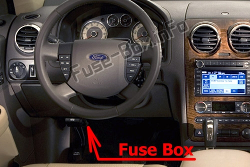 The location of the fuses in the passenger compartment: Ford Taurus X (2008, 2009