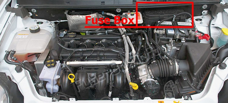 the location of the fuses in the engine compartment: ford transit  connect (2010-