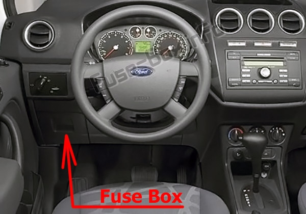 the location of the fuses in the passenger compartment: ford transit  connect (2010-