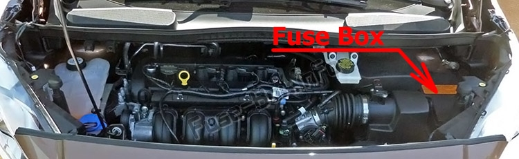 the location of the fuses in the engine compartment: ford transit  connect (2014-