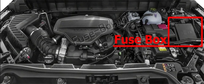 The location of the fuses in the engine compartment: GMC Acadia (2017-2019..)