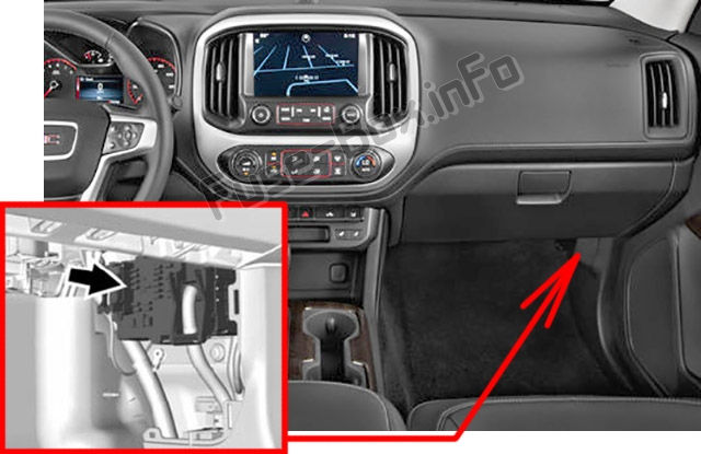 The location of the fuses in the passenger compartment: GMC Canyon (2015-2019..)