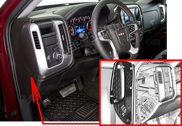 The location of the fuses in the passenger compartment: GMC Sierra (mk4; 2014-2018..)