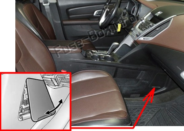 The location of the fuses in the passenger compartment: GMC Terrain (2010-2017)