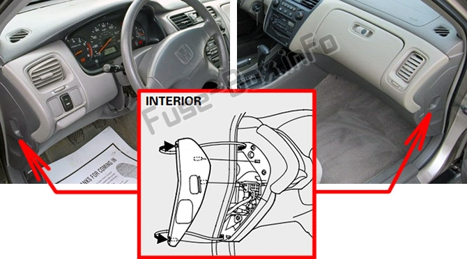 The location of the fuses in the passenger compartment: Honda Accord (1998-2002)