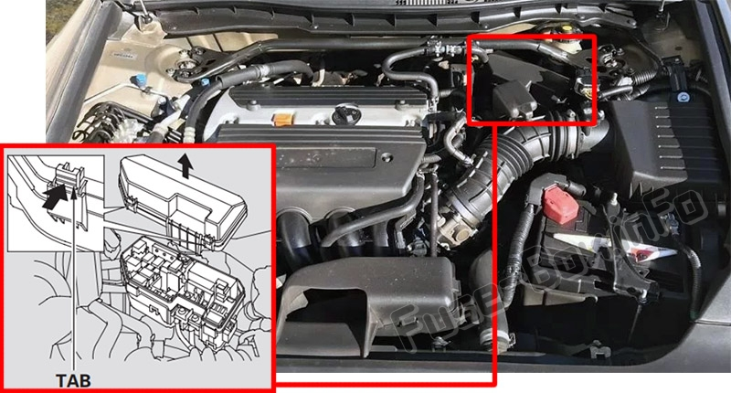 The location of the fuses in the engine compartment: Honda Accord (2008-2012)