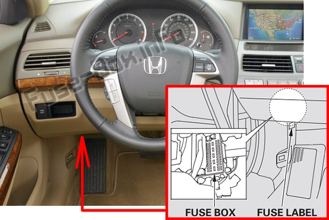 The location of the fuses in the passenger compartment: Honda Accord (2008-2012)