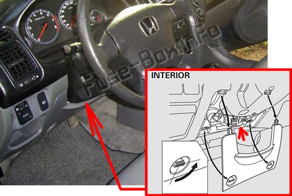 The location of the fuses in the passenger compartment: Honda Civic (2001-2005)