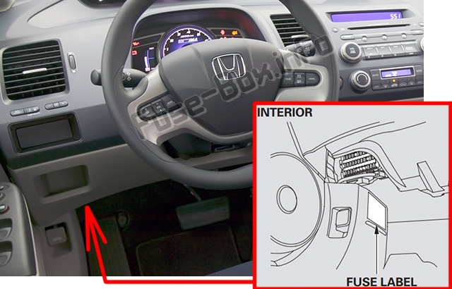 The location of the fuses in the passenger compartment: Honda Civic Hybrid (2006-2011)