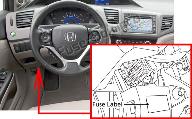 The location of the fuses in the passenger compartment: Honda Civic Hybrid (2012-2015)