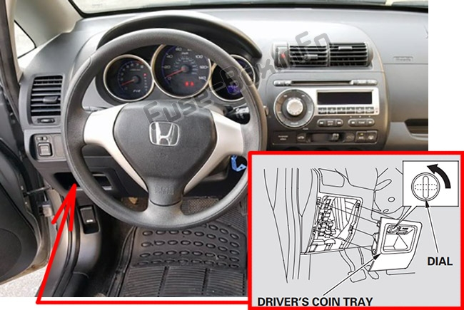 The location of the fuses in the passenger compartment: Honda Fit (GD; 2007-2008)
