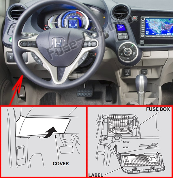 the location of the fuses in the passenger compartment: honda insight  (2010-2014