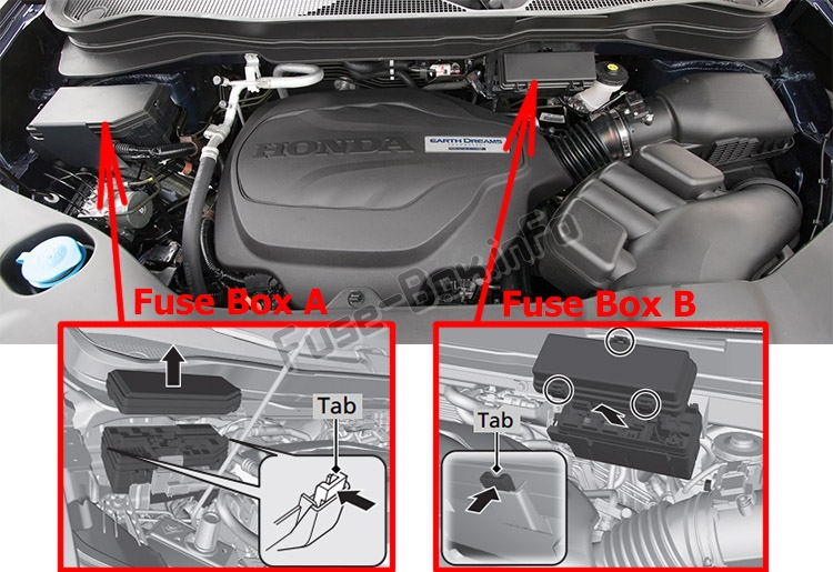 The location of the fuses in the engine compartment: Honda Passport (2019-..)