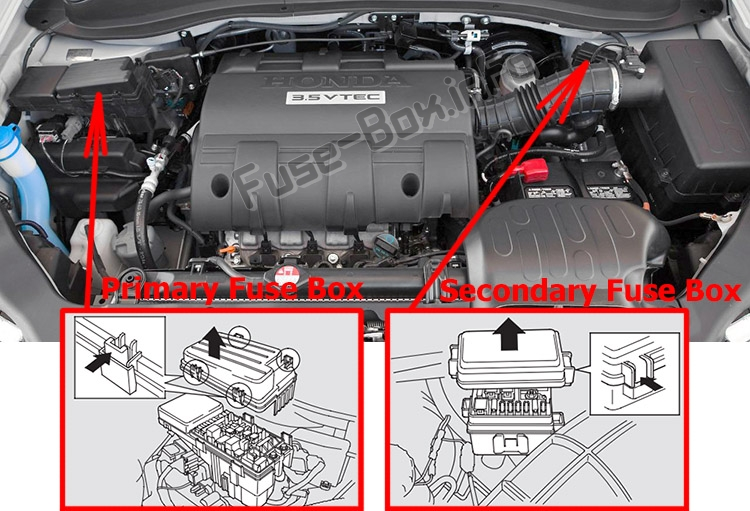 The location of the fuses in the engine compartment: Honda Ridgeline (2006-2014)