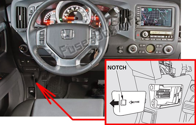 The location of the fuses in the passenger compartment: Honda Ridgeline (2006-2014)