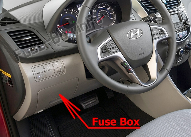 The location of the fuses in the passenger compartment: Hyundai Accent (RB; 2011-2017)