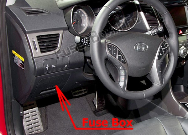 The location of the fuses in the passenger compartment: Hyundai Elantra GT (GD; 2012-2017)
