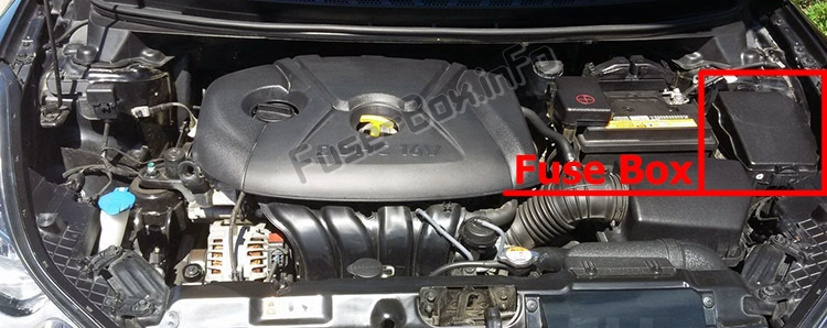 The location of the fuses in the engine compartment: Hyundai Elantra (MD/UD; 2011-2016)