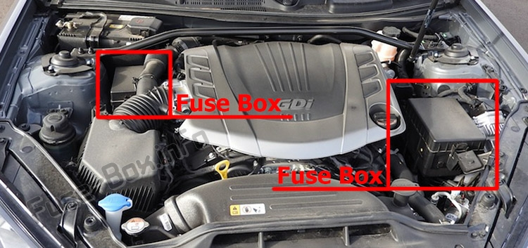 The location of the fuses in the engine compartment: Hyundai Genesis Coupe (2009-2016)