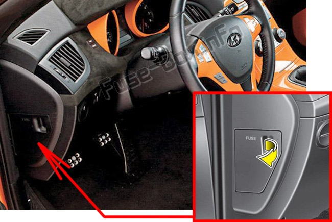 The location of the fuses in the passenger compartment: Hyundai Genesis Coupe (2009-2016)