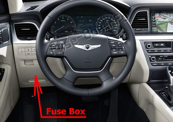 The location of the fuses in the passenger compartment: Hyundai Genesis (DH; 2014-2019..)