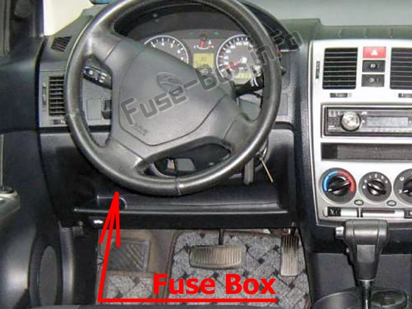The location of the fuses in the passenger compartment: Hyundai Getz (2002-2010)