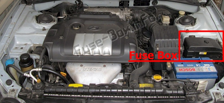 The location of the fuses in the engine compartment: Hyundai Sonata (EF; 2002-2004)