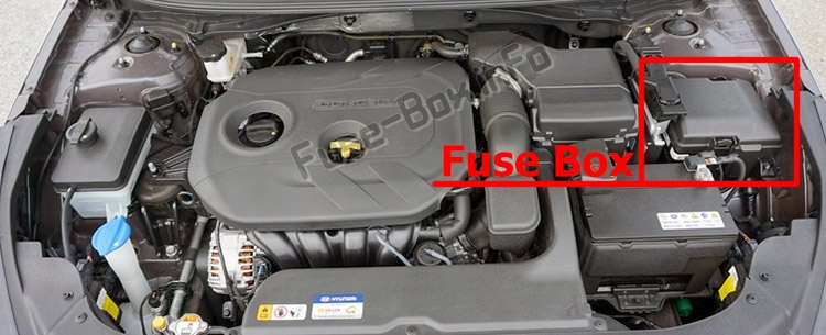 The location of the fuses in the engine compartment: Hyundai Sonata (LF; 2014-2019..)